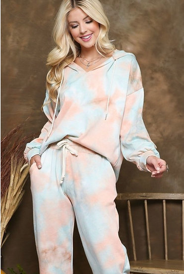Tie Dye French Terry Lounge Set - Peach/Teal