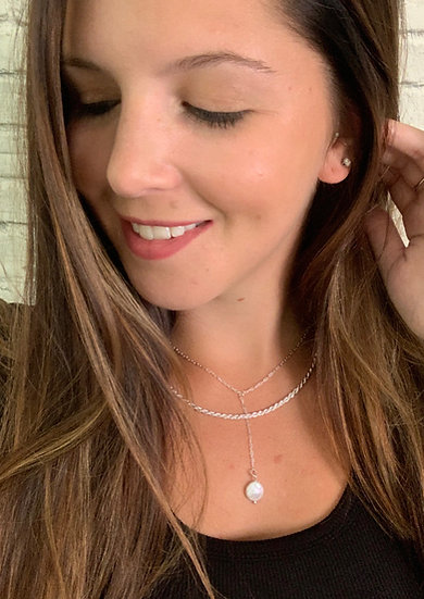 Double Strand Pearl Pendant Necklace