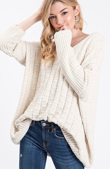 Soft, oversized Chenille V-Neck Sweater - Ivory