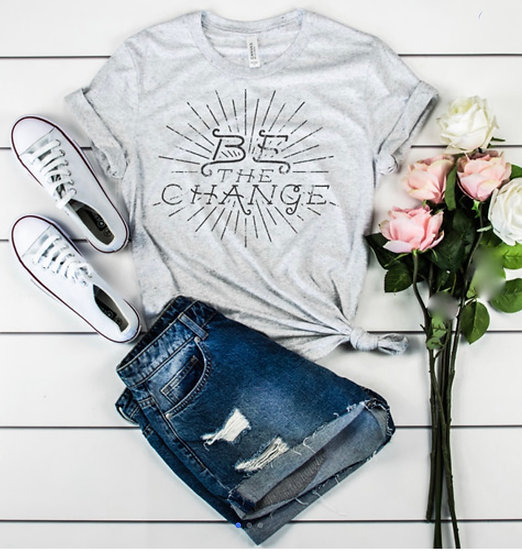 Be The Change Graphic Tee - Ash Gray