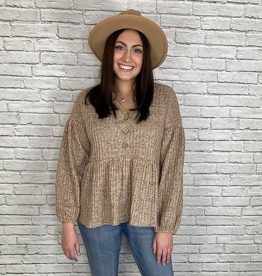 Knit Button Down Baby Doll Top - Taupe
