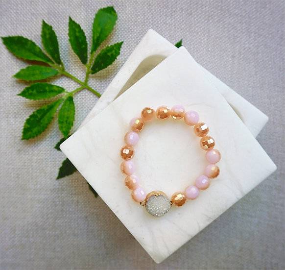 Blush Crystal and Glass Bead Bracelet