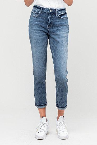 Cuffed, Stretch Slim Fit Boyfriend Jeans