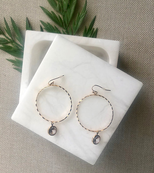 Gold Tone Hoop Earrings with Cubic Zirconia Charm