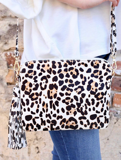 Ivory Leopard Cross Body Bag with Tassel