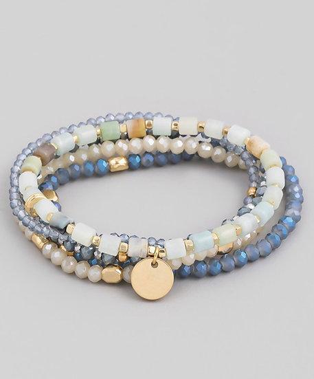 Light Blue Multi Beaded Coin Stretch Bracelet