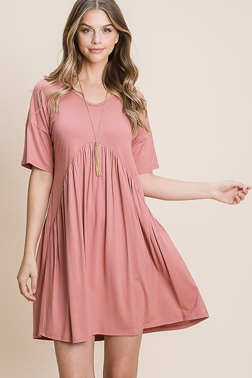 Dark Rose Loose Baby Doll Dress