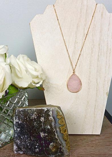 Rose Quartz Teardrop Shape Pendant -  Long Goldtone Necklace