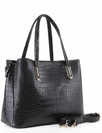 Black Crocodile Embossed Tote Bag