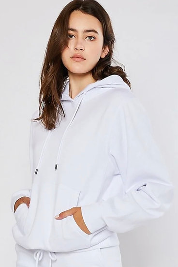 Solid White Fleece Lined Hoodie