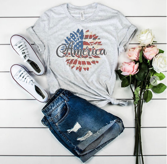 America Sunflower Graphic Tee - Ash Gray