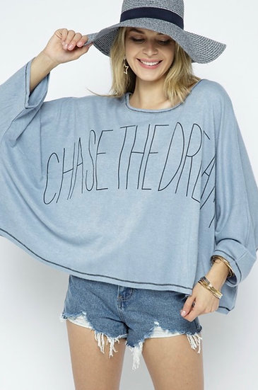 Chase the Dream Oversized Graphic Knit Top - Vintage Blue/Gray