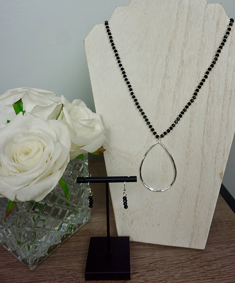 Long Black Necklace with Silvertone Hammered Accent Pendant