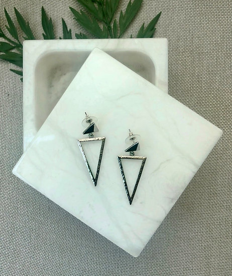 Silver Tone Triangle Cut-Out Post Earrings
