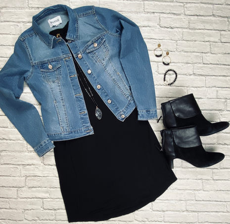 Jean Jacket, Black Dress and Booties