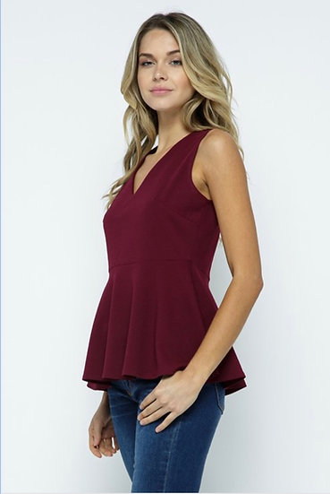 V-Neck Peplum Top -Burgundy