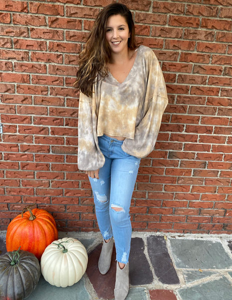 An updated tie dye look in beautiful neutral colors!