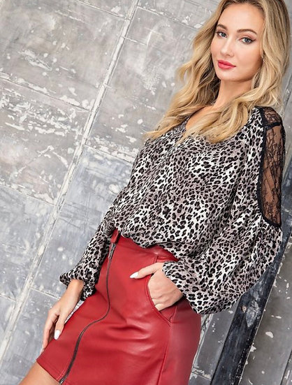 Leopard Print Blouse with Lace