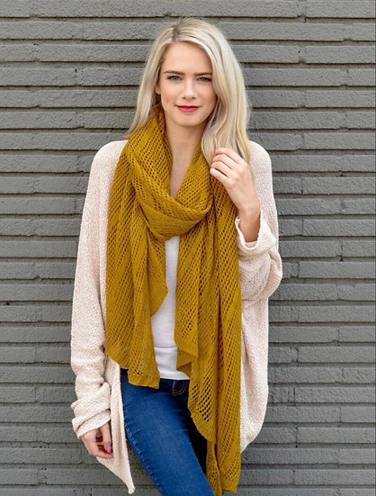 Mustard Long Lightweight Net Scarf