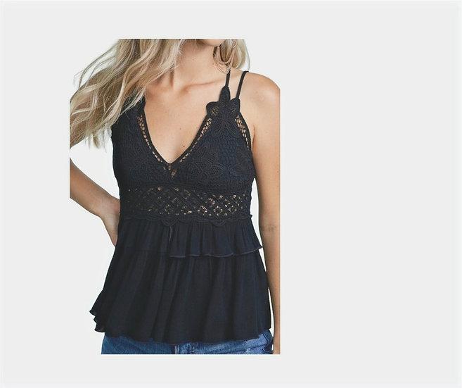 Black Crochet Lace Bralette A-Line Top