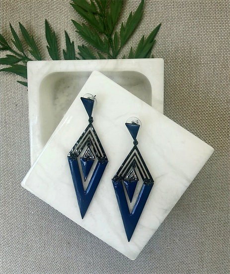 Dark Gray/Blue Aztec Shaped Statement Earring