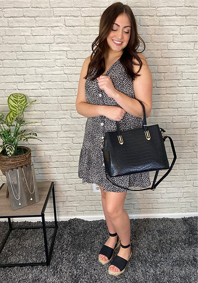 Button Up Black and White Leopard Dress with Ruffle
