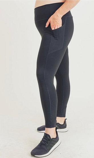 Plus Size Highwaisted Athletic Leggings w/ Side Pockets - Sizes XL, 1X, 2X, 3X