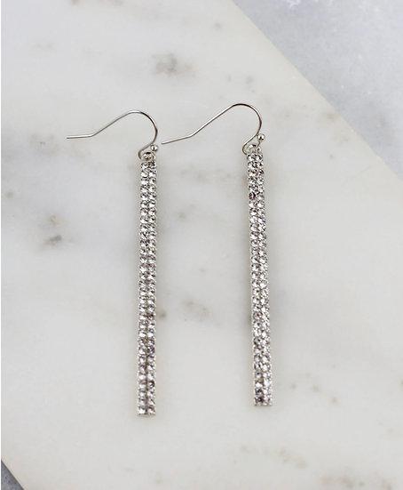 CZ Sparkle Bar Drop Earrings - Black or Silver