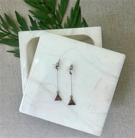 Silver Tone Drop Bar Triangle Earrings