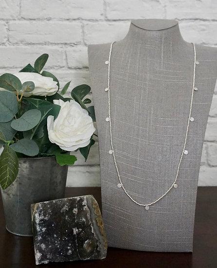 Long Delicate Beaded Necklace - Silvertone