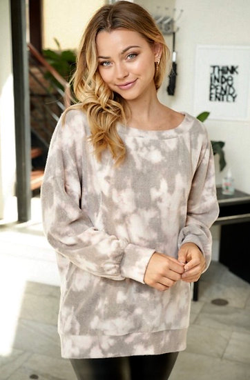 Tie Dye Brushed Knit Top - Blush, Gray and Ivory