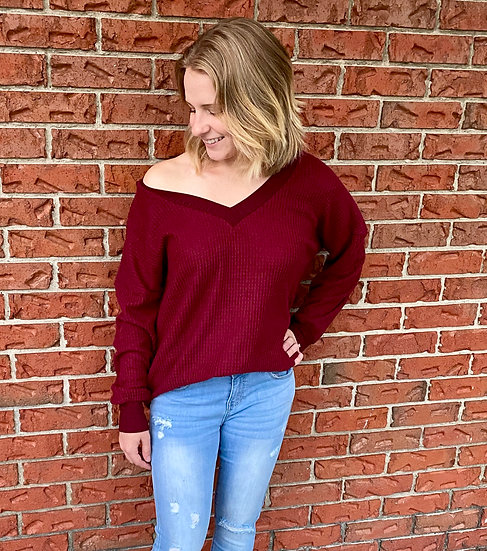 Burgundy Brushed Waffle Knit V-Neck Top