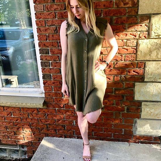 Olive Fringe Button Down Dress