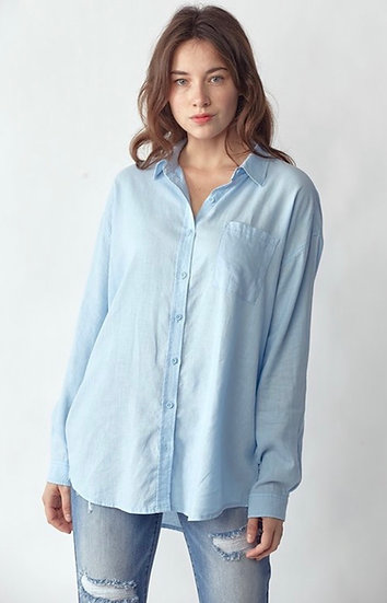 Light Blue Relaxed Fit Linen/Rayon Button Down Top