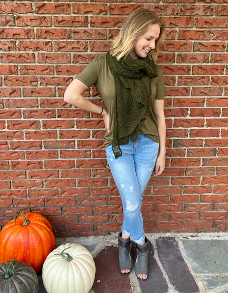 Tone on Tone Shades of Olive combine for a pretty look.