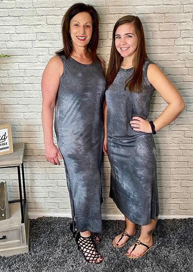 Dark Gray Tie Dye Long Dress