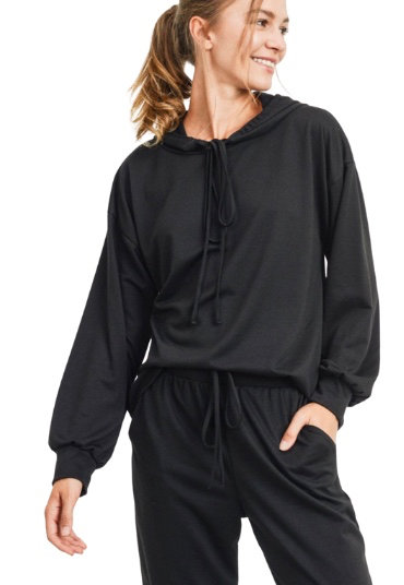 Black French Terry Hoodie Knit Top and Joggers Loungewear Set