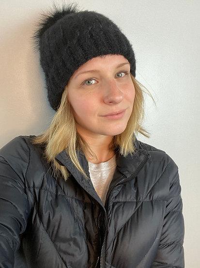 Black Fuzzy Rib Knit Beanie w/ Faux Fur PomPom
