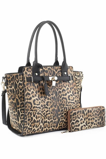 Faux Leather Leopard Print Handbag
