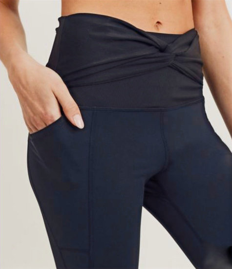Black Ribbed and Smooth Twist Accent High Waisted Athletic Leggings