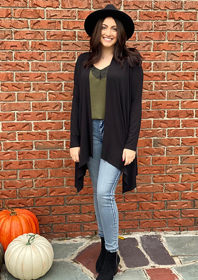 Black Long Sleeve Open Front Drape Cardigan