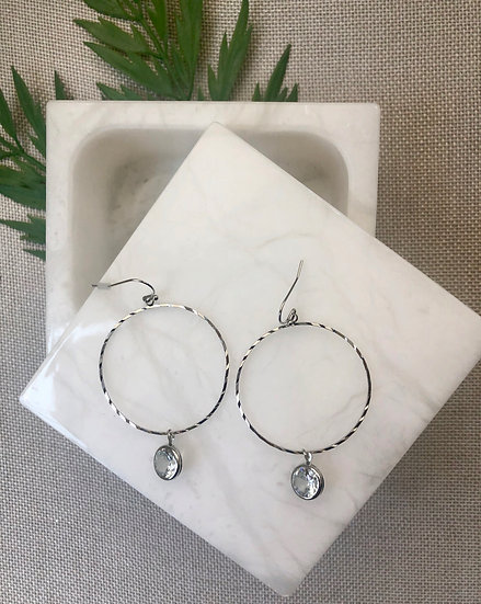 Silver Tone Hoop Earrings with Cubic Zirconia Charm