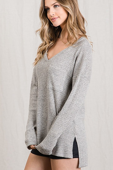 V-Neck Brushed Knit Long Sleeve Top - Heather Gray