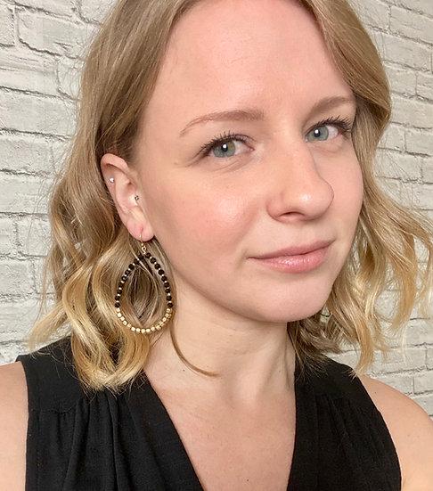Black Faceted Gem Teardrop Earrings - Goldtone