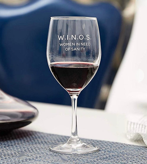 W.I.N.O.S. - Women In Need of Sanity Wine Glass