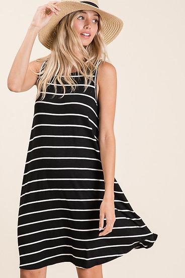 Black and White Stripe Swing Dress