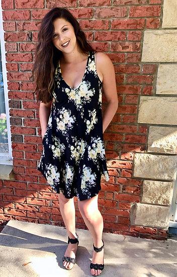Black Floral Hi-Lo Dress with Pockets