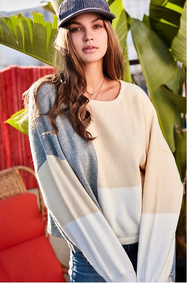Color Block Loose Fit Sweater - Heather Gray and Cream