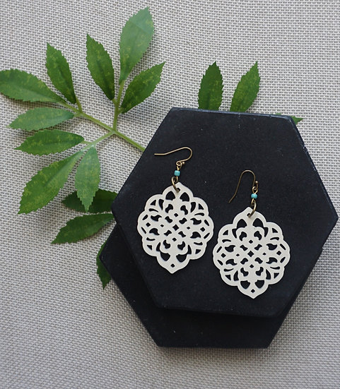 Handcrafted Laser Cut Ivory Wood Earrings