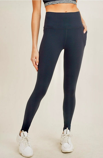 Black Tapered Bank Essential Solid High Waist Leggings